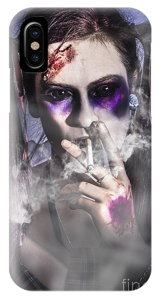 Smoke Fantasy iPhone Case - Evil Zombie Schoolgirl Smoking Cigarette by Jorgo Photography - Wall Art Gallery
