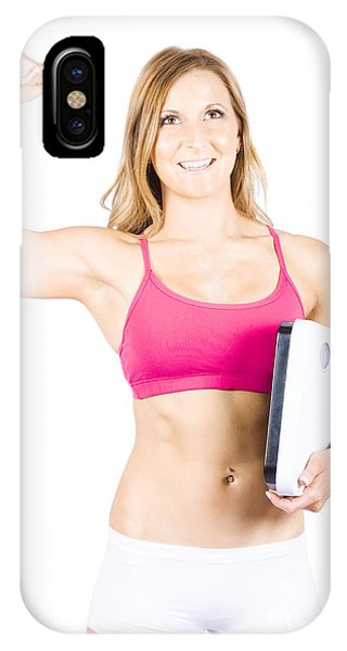 Excited Weight Loss Woman Over White Background IPhone Case