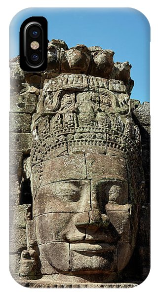 Angkor Thom iPhone Case - Face Thought To Depict Bodhisattva by David Wall
