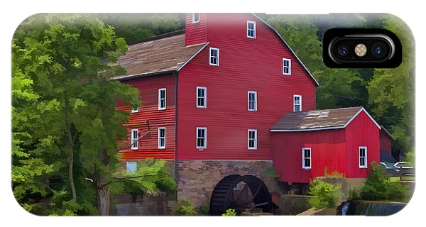 Faded Red Water Mill On The Dam Of The Raritan River IPhone Case