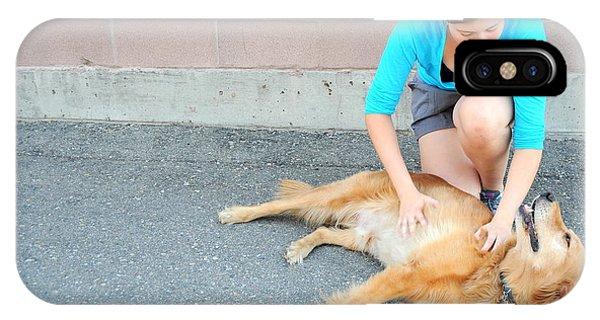 Female And Dog. Phone Case by Oscar Williams