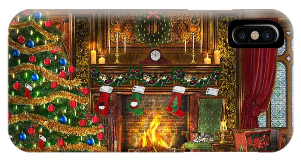 No People iPhone Case - Festive Fireplace by Dominic Davison