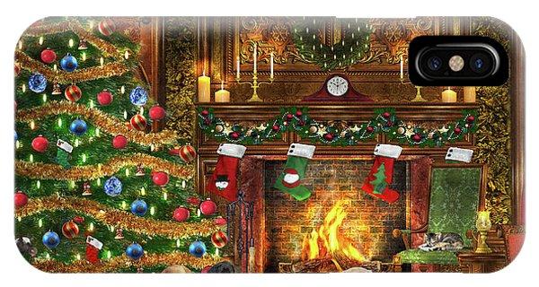 Fireplace iPhone Case - Festive Labradors by Dominic Davison