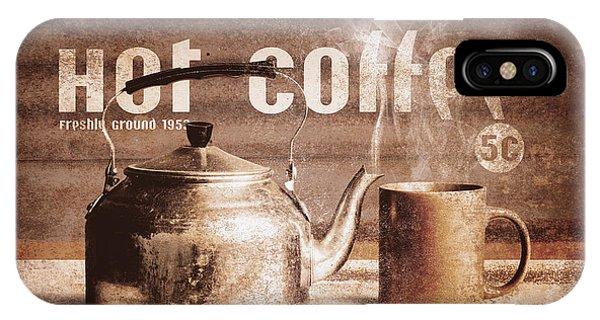Menu iPhone Case - Fine Art Coffee Shop Tin Sign Insignia by Jorgo Photography - Wall Art Gallery