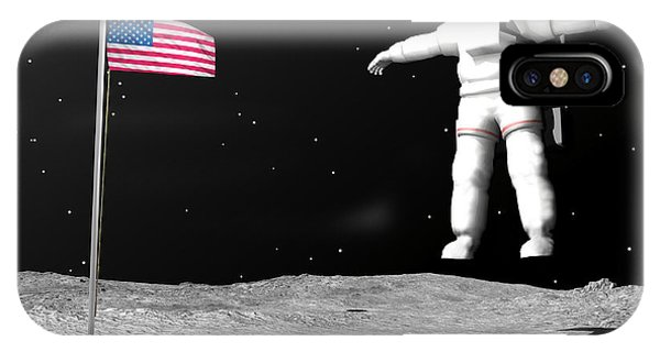 Achievement iPhone Case - First Astronaut On The Moon Floating by Elena Duvernay