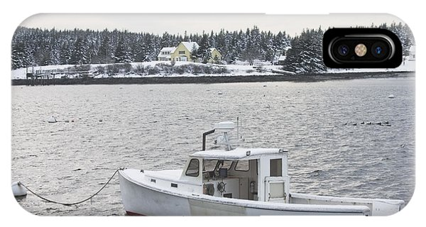 Fishing Boat After Snowstorm In Port Clyde Harbor Maine IPhone Case