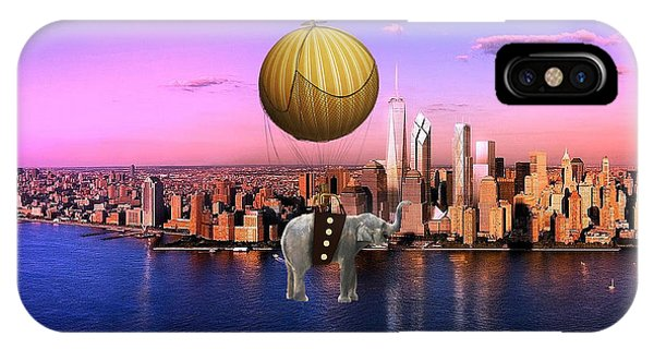 Flight Over The New York Skyline On A Hot Air Balloon IPhone Case