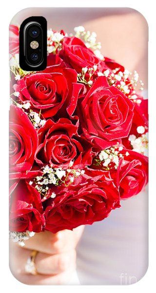 Bridal iPhone Case - Floral Rose Boquet Held By Bride by Jorgo Photography - Wall Art Gallery