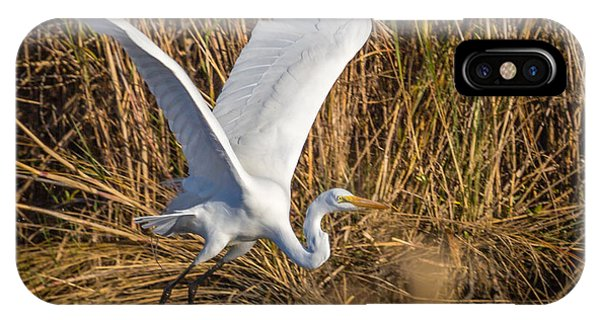 Flying White Egret IPhone Case