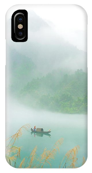 Boat iPhone Case - Fog Sprinkle The East River by Hua Zhu