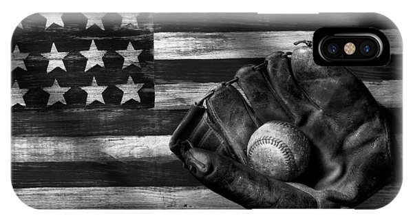 Sports iPhone Case - Folk Art American Flag And Baseball Mitt Black And White by Garry Gay
