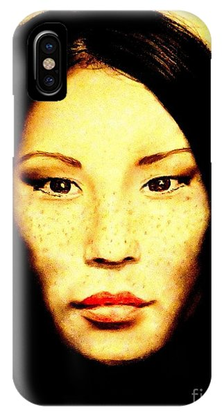 Leading Actress iPhone Case - Freckle Faced Beauty Lucy Liu  by Jim Fitzpatrick