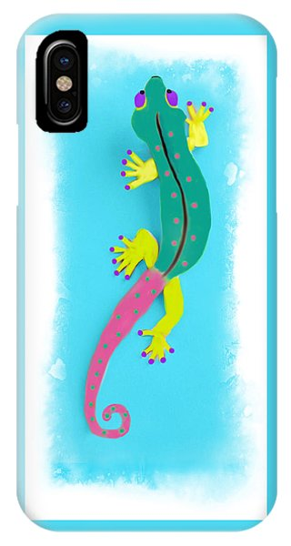 IPhone Case featuring the mixed media Gecko Two by Deborah Boyd