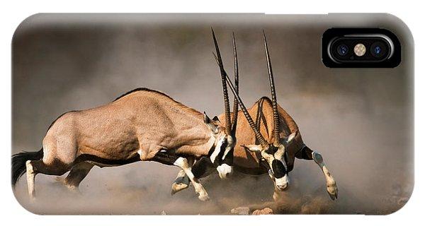 Nobody iPhone Case - Gemsbok Fight by Johan Swanepoel