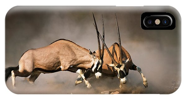 Dust iPhone Case - Gemsbok Fight by Johan Swanepoel