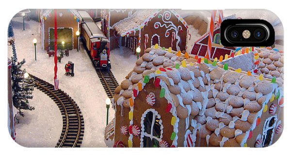 Gingerbread House Miniature Train IPhone Case