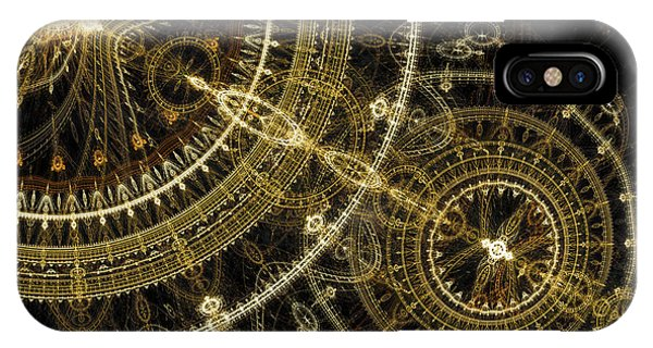 Golden Abstract Circle Fractal IPhone Case