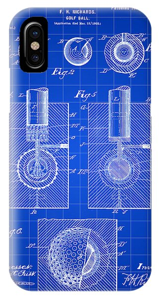 Golf Ball iPhone Case - Golf Ball Patent 1902 - Blue by Stephen Younts