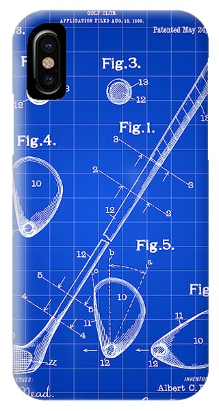Golf Club Patent 1909 - Blue IPhone Case