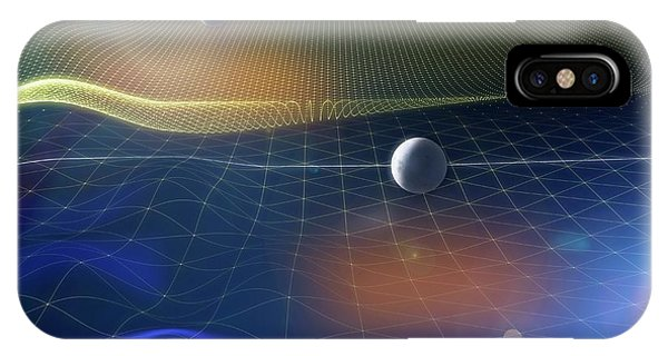 Earth Orbit iPhone Case - Gravitational Waves And Earth by Ramon Andrade 3dciencia