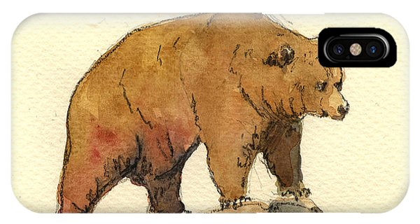 Brown iPhone Case - Grizzly Bear by Juan  Bosco