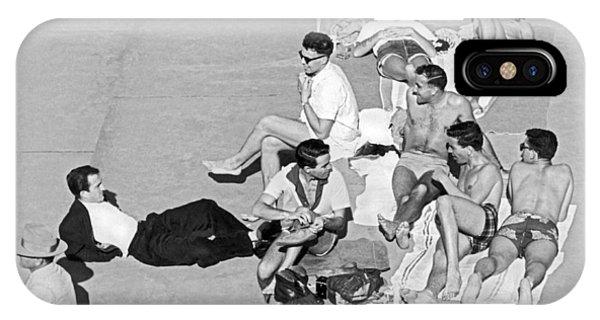 Sunbather iPhone Case - Group Of Men Sunbathing by Underwood Archives