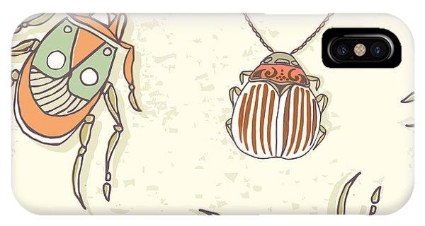 Engraving iPhone Case - Hand Drawn Beetles Seamless Pattern by Olga Donskaya