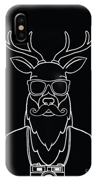 Humor iPhone Case - Hand Drawn Hipster Deer In Sunglasses by 9george
