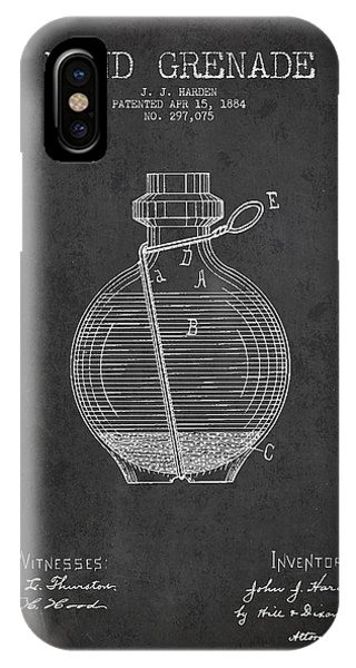 Explosion iPhone X Case - Hand Grenade Patent Drawing From 1884 by Aged Pixel