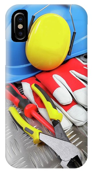 Hardhat And Tools Phone Case by Christian Lagerek/science Photo Library