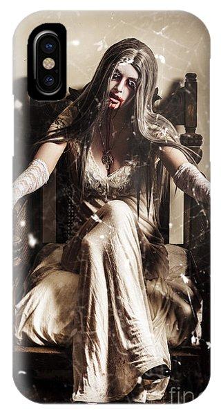 Haunting Horror Scene With A Strange Vampire Girl  IPhone Case