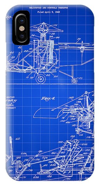 Helicopter iPhone X Case - Helicopter Patent 1940 - Blue by Stephen Younts