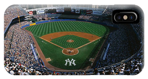 Yankee Stadium iPhone Case - High Angle View Of A Baseball Stadium by Panoramic Images