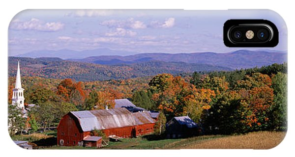 New England Barn iPhone Case - High Angle View Of Barns In A Field by Panoramic Images