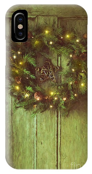 Holiday Wreath On Wooden Door/ Digital Painting IPhone Case