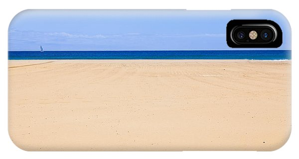 Horizontal Lines Of Sandy Beach Blue Sea And Sky IPhone Case