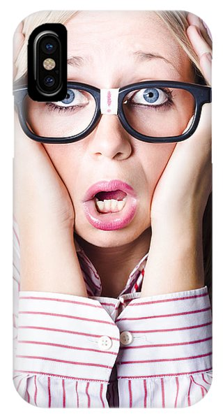 Behaviour iPhone Case - Hysterical Business Woman Having Panic Attack by Jorgo Photography - Wall Art Gallery