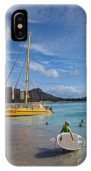 Catamaran iPhone Case - Idyllic Waikiki Beach by David Smith