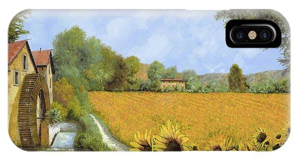 Sunflower iPhone X / XS Case - Il Mulino E I Girasoli by Guido Borelli