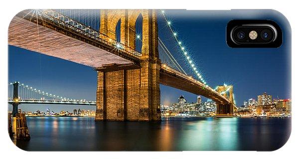 Illuminated Brooklyn Bridge By Night IPhone Case