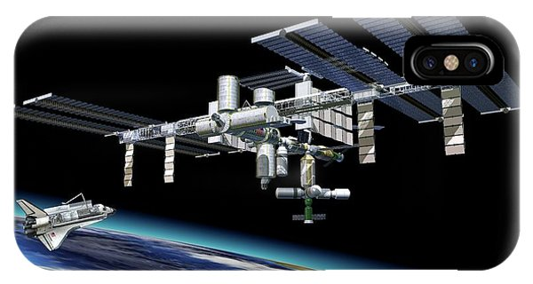 International Space Station iPhone Case - International Space Station And Shuttle by Leonello Calvetti/science Photo Library