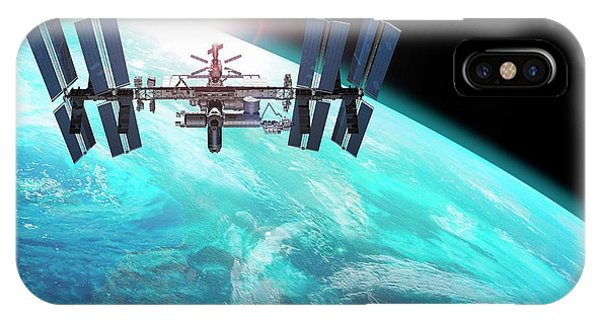 Earth Orbit iPhone Case - International Space Station by Carlos Clarivan