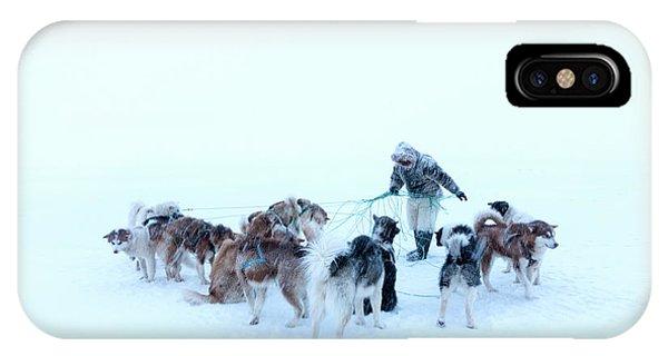 Inuit Hunter And Husky Dog Team IPhone Case