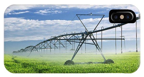 Farms iPhone Case - Irrigation Equipment On Farm Field by Elena Elisseeva