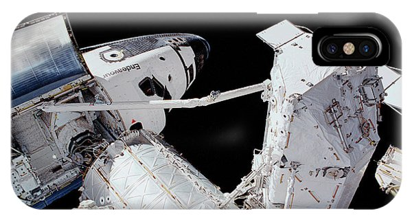 International Space Station iPhone Case - Iss And Space Shuttle by Nasa/science Photo Library