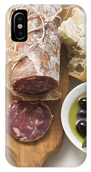 Italian Salami, Olives In Olive Oil, White Bread IPhone Case