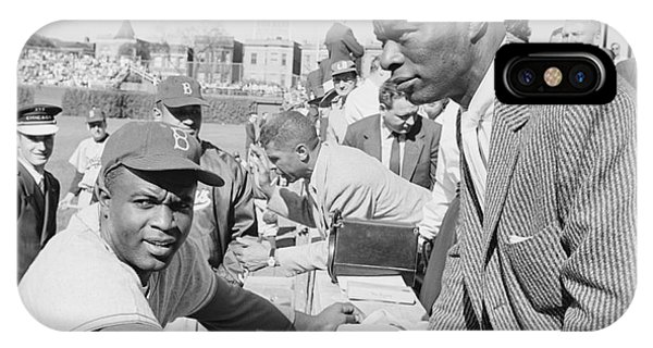 Jackie Robinson And Nat King Cole At Wrigley Field Phone Case by The Harrington Collection
