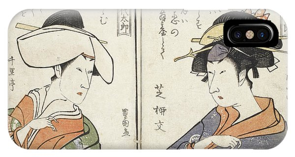 Behind The Scene iPhone Case - Kabuki Actors by British Library