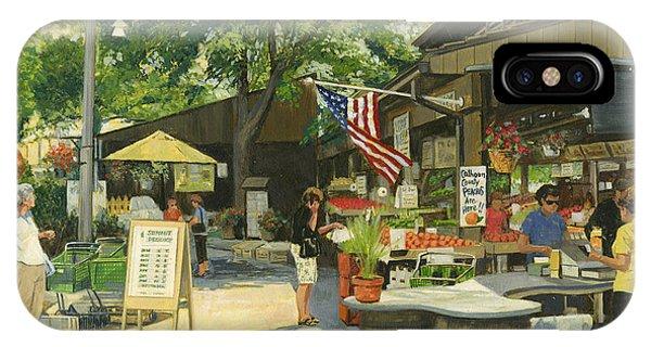 Neighborhood iPhone Case - Kirkwood Farmers Market American Flag by Don  Langeneckert