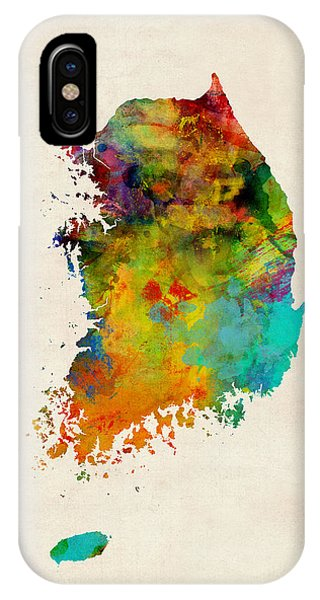 Print iPhone Case - Korea Watercolor Map by Michael Tompsett